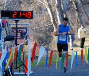 the finish of the 4 mile race