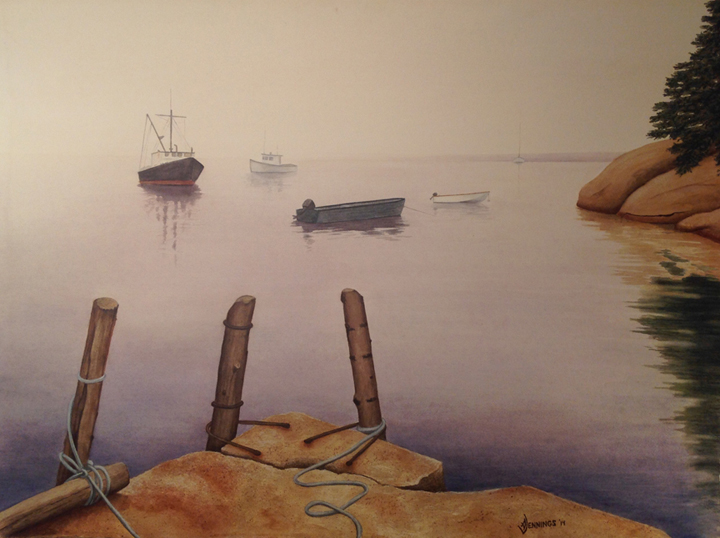 Early Morning in Deer Isle, ME Watercolor by Arleen Jennings
